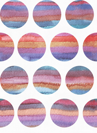 vivid colors: Horizontal large illustration with watercolor vertical stripes in seamless abstract background, based on circles texture. Vivid colors, grainy texture, hand drawn with bright colors and wet brush
