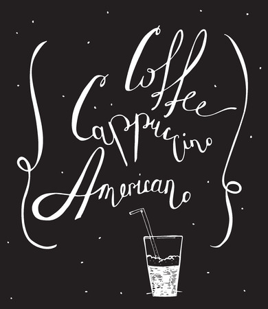 cappuccino foam: Vector black and white illustration with hand drawn lettering, dedicated to coffee with words coffee, cappuccino, americano. Isolated on blackboard letters, decorated with dots and glass with foam. Illustration