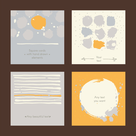 imperfections: Vector simple square handdrawn cards with circles, stripes and various design. Set of templates with text holders, splashes, imperfections. Yellow and grey colors on dark background, good for print.
