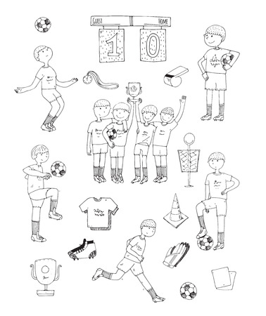 winning team: Hand drawn vector illustration with black and white soccer players, isolated on white background. Football stuff, happy winning team, training boys, accessories, football uniform, football boots, ball Illustration