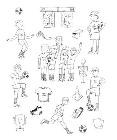 uniforme de futbol: ilustraci�n vectorial de dibujado a mano con los jugadores de f�tbol en blanco y negro, aislado en fondo blanco. cosas de f�tbol, ??feliz equipo ganador, educar a los ni�os, accesorios, uniformes de f�tbol, ??botas de f�tbol, ??bola Vectores