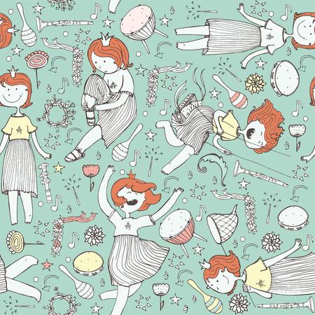 Vector modello con cute della ragazza della principessa, strumenti musicali. fiori, note, stelle e cuori. Illustrazione colorato, disegnati a mano, buona per la carta da imballaggio, stampa, bambini e sfondi musicali su blu.