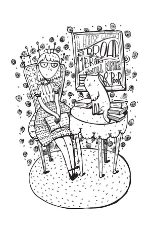 Hand drawn girl sitting with open book and cat on table. Lettering with quote about education, books and house. Vector isolated on white illustration, drawn with brush and liquid ink for bookstore.