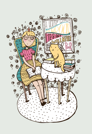bookshop: Hand drawn girl sitting with open book and cat on table. Lettering with quote about education, books. Colorful vector illustration, drawn with brush and liquid ink for bookstore, library on bookshop. Illustration