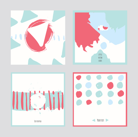 accents: White abstract square cards, hand drawn with brush and stripes, brush blobs and smears. Pink and blue accents. Vector illustration set, good for print or presentation design. Text holders for text