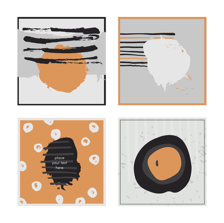 accents: White abstract square cards, hand drawn with brush and stripes, brush blobs and smears. Grey and orange accents. Vector illustration set, good for print or presentation design. Text holders for text
