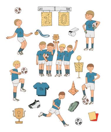 uniforme de futbol: ilustración vectorial de dibujado a mano con los jugadores de fútbol de colores, aisladas sobre fondo blanco. cosas de fútbol, ??feliz equipo ganador, educar a los niños, accesorios deportivos, uniformes de fútbol, ??botas de fútbol, ??bola.