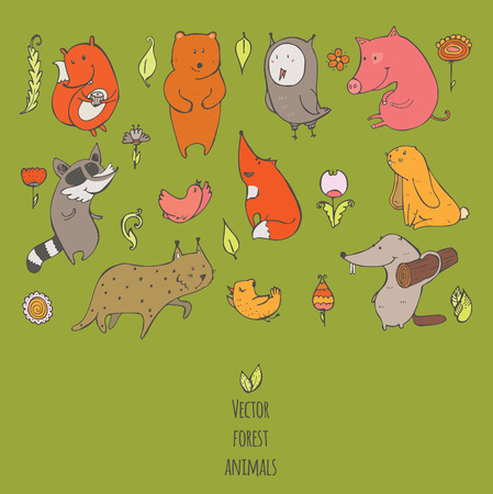 naive: Vector illustration with cute and naive forest animals. Hand drawn colorful set, decorated with flowers and birds, isolated on green. Bear, fox, raccoon, squirrel, owl, beaver, lynx, bunny, pig