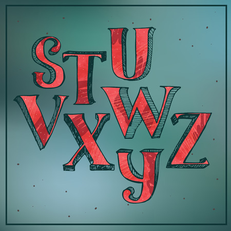 good s: Colorful red 3d alphabet on blur blue background. Letters sequence from S to Z, good for lettering or decoration.Hand drawn vector illustration with hatch, drawn with brush and stylish imperfections Illustration