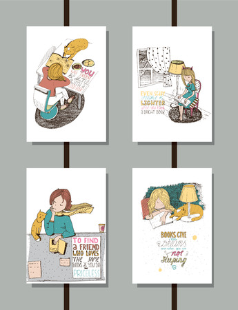 bookshop: Colorful set of handdrawn educational lettering illustrations, with quotes about reading and books, lovely girl and cute cat. Vertical isolated on white vector posters, good for library and bookstore. Illustration