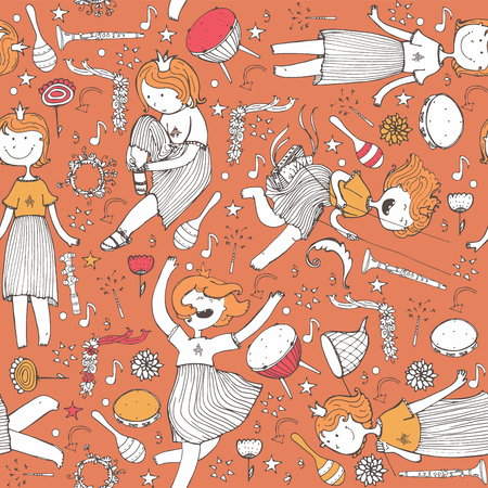 Vector pattern with cute girl princess, musical instruments. flowers, note, stars and hearts. Colorful illustration, hand drawn, good for wrapping paper, print, kids and music backgrounds on orange.