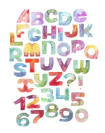 imperfections: Large raster illustration with watercolor letters and numbers sequence. Gradient alphabet, vivid colored, grainy, with splashes and imperfections, isolated on white background. Hand drawn abc letters
