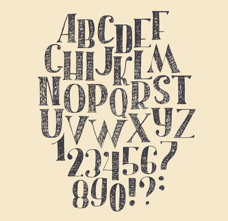 nick: Vector hand drawn font, based on english hand drawn abc from a to z and numbers from 0 to 9. Capital font made with nib and serif, decorated hatch freehand alphabet . Isolated vector illustration