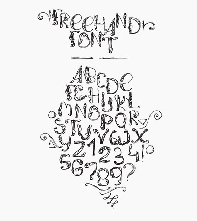 imperfections: Freehand handdrawn alphabet, isolated on white background. Font letters drawn with brush and imperfections, every letter and digit has its own style. Funky sequence from letter A to Z and digit 0 to 9