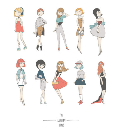 minx: Hand drawn set with cute fashion girls in dresses, with different hair color and hairstyle, in evening and day apparel. Isolated on white fun doodle cartoon, every cute girl posing in various way. Illustration