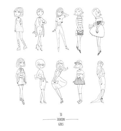 minx: Hand drawn vector set with cute fashion girls in dresses, with different hairstyle, in evening and day apparel. Isolated on white fun doodle cartoon, every cute girl posing in various way, smiling. Illustration