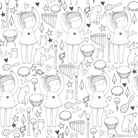 cute: Vector black and white seamless illustration with cute dancing girl, musical instruments, cat, flowers, doodle shapes. Square hand drawn picture, good for dancing school, dance classes, ballet studio.