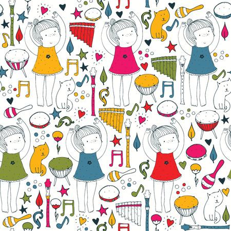 Vector colorful auf weißem nahtlose Abbildung mit niedliche Tänzerin, Musikinstrumente, Katze, Blumen, doodle Formen. Eckiges Hand Bild gut für Tanzschule gezogen, Tanzkurse, Ballettstudio. Standard-Bild - 59959533