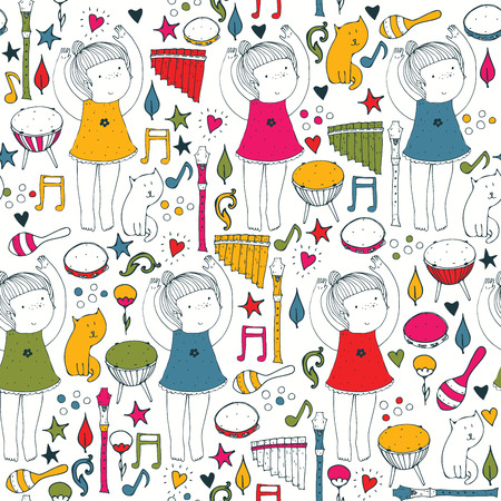 Vector colorful on white seamless illustration with cute dancing girl, musical instruments, cat, flowers, doodle shapes. Square hand drawn picture good for dancing school, dance classes, ballet studio. Vettoriali