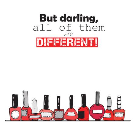 しかし、最愛の人、すべての人が違います。赤いマニキュアのボトルのカラフルな文字は。白い背景の正方形の垂直イラスト上に分離。インクと手書きボトル