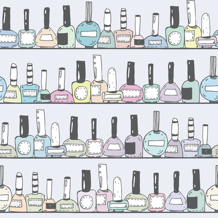 imperfections: Seamless vector illustration with pastel nail polish bottles on horizontal shelves. Pattern hand drawn with imperfections. Good for beauty shops or nail shop. Closed bottles an grey background