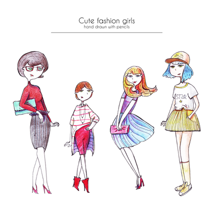 minx: Set of hand drawn fashion girls, drawn with ink and colored pencils, in different hairstyle, dresses, apparel and shoes. Isolated on white illustration, good for advertising, design, print design