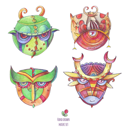 Set of isolated on white hand drawn monster faces. Illustration drawn with color pencils and different shades of green and red colors. Characters with details and decor on heads.