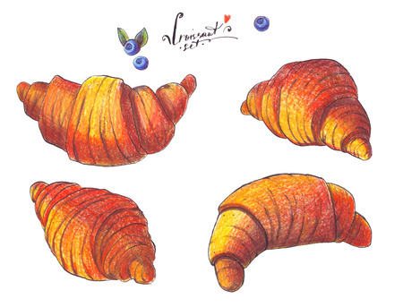 foreshortening: Large raster illustration dedicated to croissant. Hand drawn with color pencils and ink, good for french bakery. Isolated on white grainy baking in various foreshortening