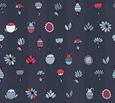 imperfections: Seamless stylish texture with colorful doodle flowers, simple, hand drawn on dark blue background. Pattern drawn with brush and ink by hand, have imperfections, can be used for print, fabric.
