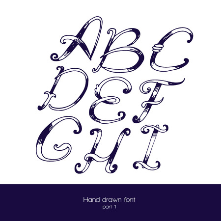 navy blue: Hand drawn font in navy blue and white, isolated on white background. Letter sequence from a to i. Hand drawn with brush painted abc letters, good for lettering design. Illustration