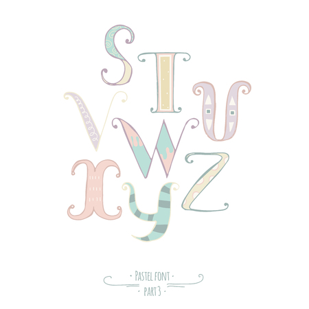 good s: Pastel colored hand drawn font. Abc letters, decorated with hand drawn stripes, dots, swirls. Alphabet set of letters from S to Z, good for lettering design, kids illustration, print Illustration