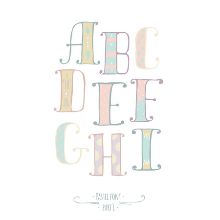 Pastel colored hand drawn font. Abc letters, decorated with hand drawn stripes, dots, swirls. Alphabet set of letters from A to I, goor for lettering design, kids illustration, print Vectores