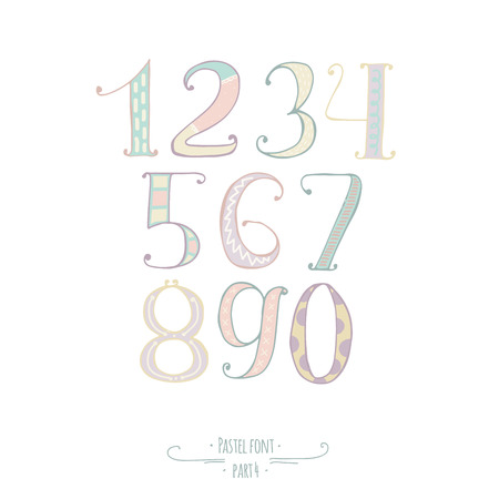 imperfect: Pastel colored hand drawn numbers Digits, decorated with hand drawn stripes, dots, swirls. Set of numbers from 0 to 9 good for lettering design, kids illustration, print, handwritten, imperfect