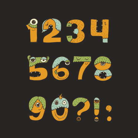 punctuation marks: cute kind monster numbers set. Yellow, blue, green. Every digit has unique design with fur, eyes, nose, mouth and teeth. Digits from 0 to 9 and punctuation marks, isolated on black background Illustration