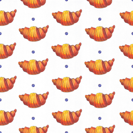french bakery: Large grainy raster illustration dedicated to croissant. Hand drawn with color pencils and ink, good for french bakery. Seamless pattern illustration with little blueberry berries on white background. Stock Photo
