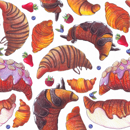 Seamless raster illustration with various croissant and berries. Croissant with strew topping and chocolate syrup, baked and fried. Hand drawn with color pencils illustration on white paper.