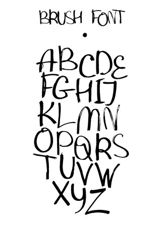 creative writing: isolated on white background hand drawn alphabet from A to Z drawn with brush and liquid ink. Freehand style font good for lettering or creative writing. Capital english letters