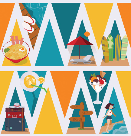 exhilaration: Seamless vector illustration based on colorful bright triangles on white background and vacation objects and girl. Pattern with ce cream, bags, sea and sunbed in blue, red and yellow