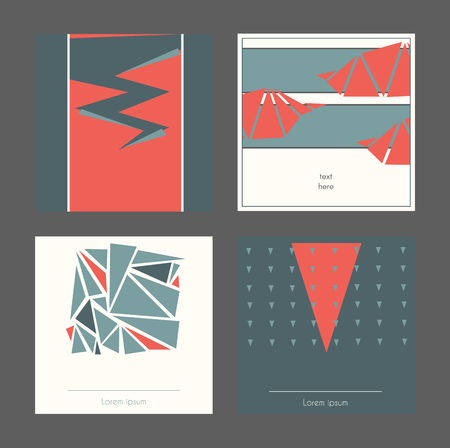laconic: Beautiful collection of square cards, based on blue and red triangles and white background. Vector illustration with laconic design, good for print, isolated on dark background Illustration