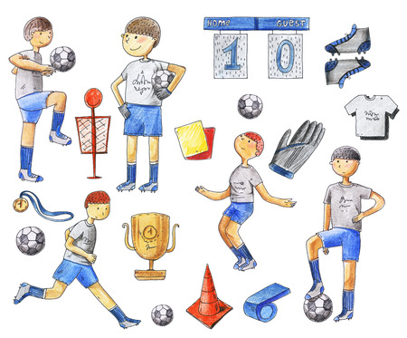 Large raster illustration with football players and soccer supplies as ball, medal, boots, shirts, pipe. Footballers running, standing, training. Isolated on white raster hand drawn set Stock Photo