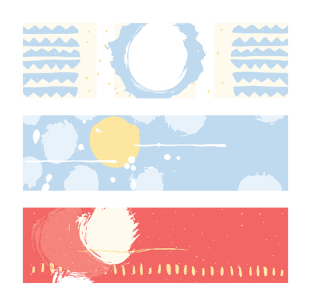 nuance: Bright abstract horizontal banners, hand drawn with brush and stripes, brush blobs and smears. Pink, yellow, blue accents. Vector illustration set with place for text. Illustration