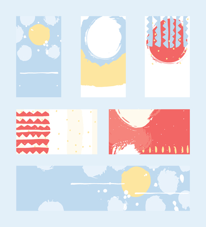 accents: Bright abstract business cards, hand drawn with brush and stripes, brush blobs and smears. Red, yellow, blue accents. Vector illustration set, good for print or presentation design with place for text.