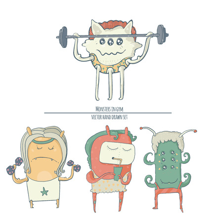 fitting: Set of fun monster icons, doing sport exercises in gym with barbell and dumbbells, one is eating healthy cocktail. Vector cute illustration isolated on white background.
