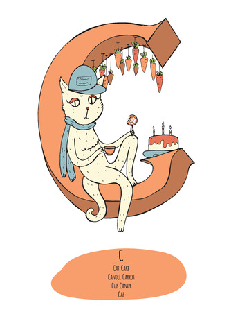 educative: Large vector illustration with letter C and objects starting with C in one composition, isolated on white background. Cat, cake, candle, cap, candy, carrot. Educative image, hand drawn with ink. Illustration