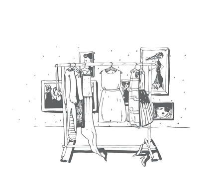 choosing clothes: Black and white fashion illustration with hand drawn hangers with dresses. Interior with frames, shoes. Vector sketch illustration, dresses set, summer clothes, outerwear for women, isolated on white.