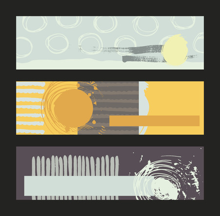 imperfect: Set of horizontal banners, handdrawn, decorated with liquid ink brush stripes, strokes and spots. Isolated on background vector illustration, stylish, with imperfect parts in intricate bright colors, contrast and bright.