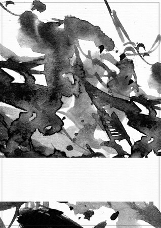 daub: Vertical raster illustration on white watercolor paper. Black liquid ink splashes, daub and smears decorated with lines and freehand graphic. Hand drawn template with white line for text in bottom.