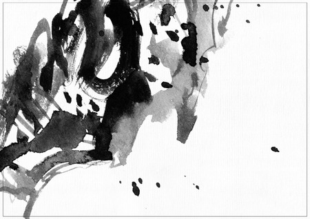 daub: Horizontal raster illustration on white watercolor paper. Black liquid ink splashes, daub and smears decorated with lines and freehand graphic. Hand drawn template good for presentation cover or print. Stock Photo