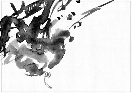 black liquid: Horizontal raster illustration on white watercolor paper. Black liquid ink splashes, daub and smears decorated with lines and freehand graphic. Hand drawn template good for presentation cover or print. Stock Photo