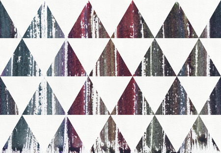Watercolor painted striped purple, blue and cyan splatter colors in triangles, raster illustration. Seamless, dark. Grainy large hand drawn illustration